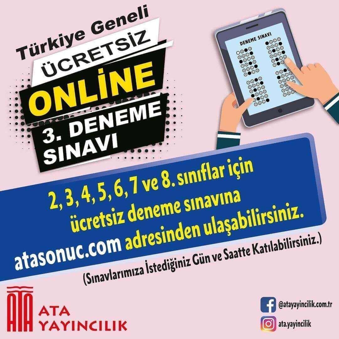 Ata Yayıncılık Türkiye Geneli Ücretsiz Online 3.Deneme Sınavı